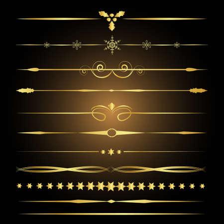 Elementos decorativos de diseño. Separadores de oro