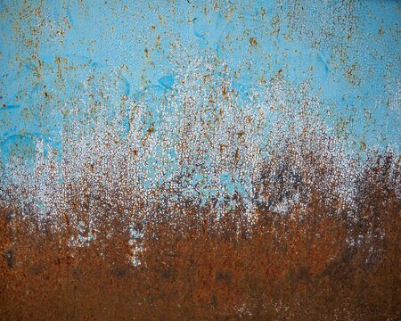 Rust, metal texture, peeling blue paint. Old wall for grunge design Stock fotó