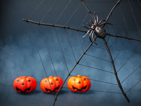 Halloween. Creepy spider on the web and Jack pumpkins. Selected sharpness. Scary night scene Stockfoto