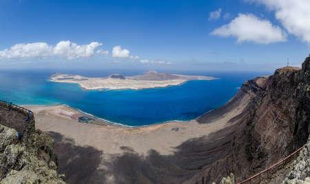 lanzarote: Graciosa Islands panoramic from Mirador del Rio in Lanzarote, Spain.