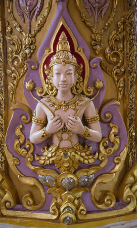 Thai angel sculpture is always decorated in temples.