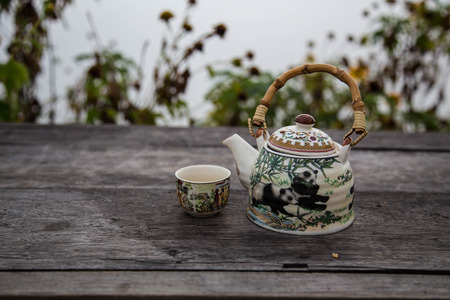 The teapot is put on the table with a tea cup. Stock Photo