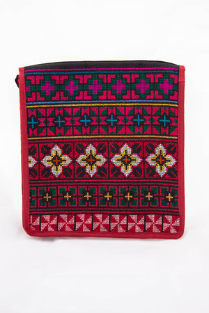 Colorful handmade bag is made by hill tribe  Stock Photo
