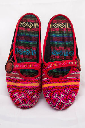 These handmade shoes are very colorful