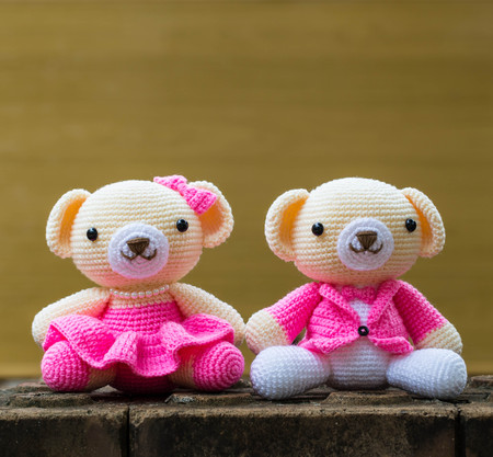 soft toy: handmade cute teddy bears soft toy smiling Stock Photo