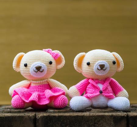 handmade cute teddy bears soft toy smiling Stock Photo