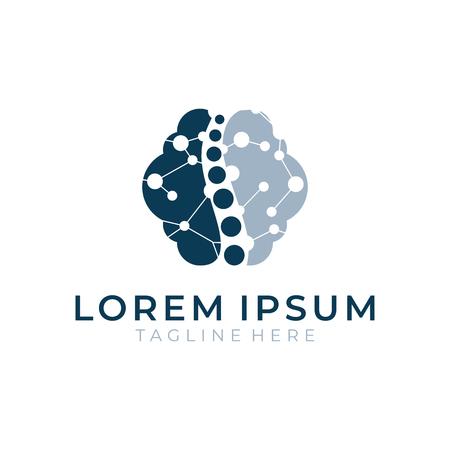 Brain logical color logo vector
