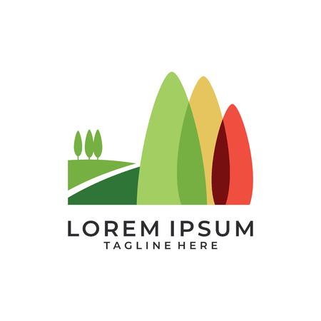 Field trees color logo vector Illustration