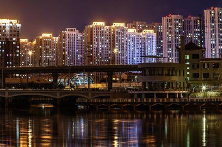 Night view of Yitong River, Changchun, China