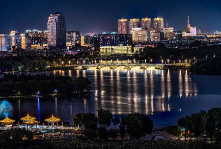 Night view of Changchun City and Nanhu Park in China