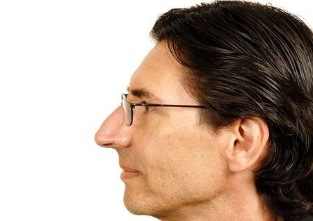 nose: Man in Black Shirt Stock Photo