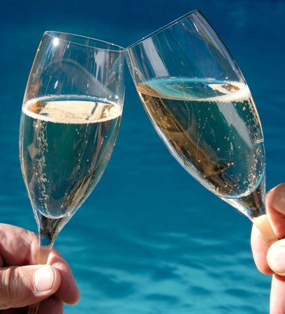 Toasting with Champagne Stock Photo