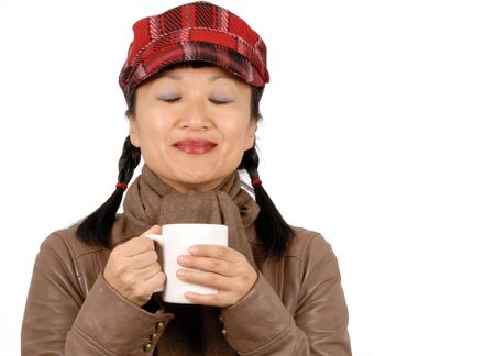 eyesclosed: Woman with Warm Drink