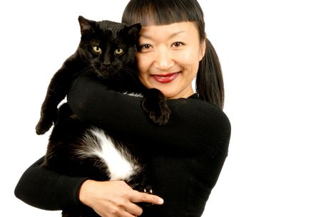 Woman and Cat Stock Photo - 2085683