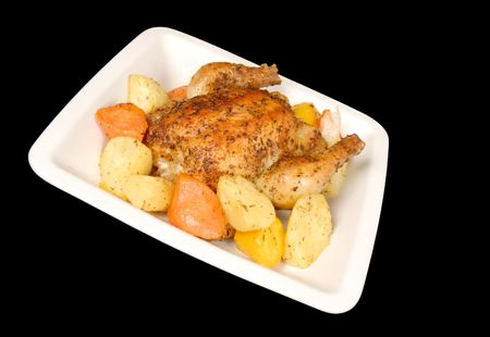 Oven Roasted Cornish Hen and Root Vegetables photo