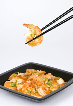 scallions: Stir Fried Shrimp with Scallions Stock Photo