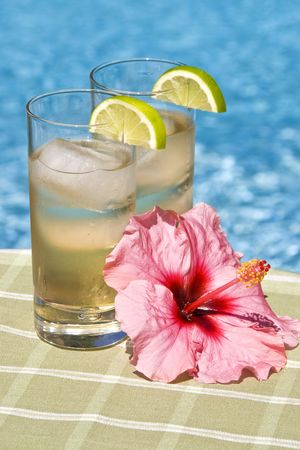 carbonation: Tall Glasses of Ginger Ale with Lime Wedge and Pink Hibiscus Flower by the Pool