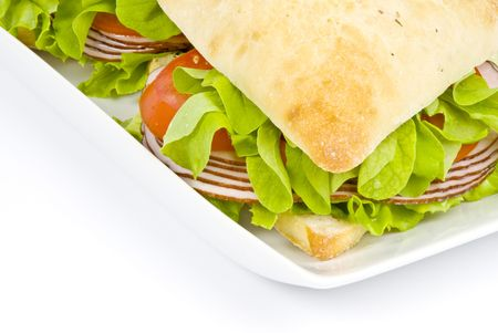Foccacia Sandwiches with Ham, Tomatoes and Leafy Green Vegetables Stock Photo - 3339089