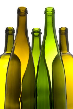 Empty Colorful Wine Bottles Isolated on White  Reklamní fotografie