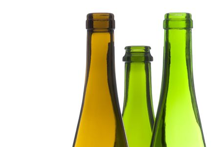 hues: Empty Colorful Wine Bottles Isolated on White  Stock Photo
