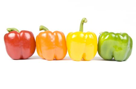 bell peppers: Colorful Bell Peppers Isolated on White Stock Photo