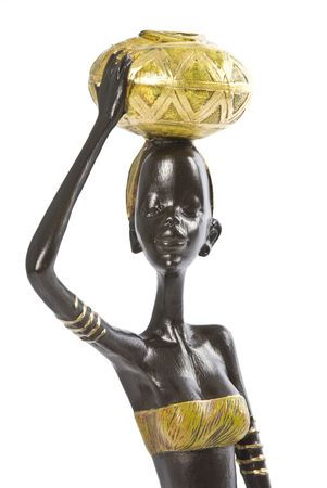 carrying: African Woman Figurine Isolated on White Stock Photo