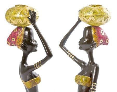 femmes africaines: Les femmes africaines figurines isol� sur blanc