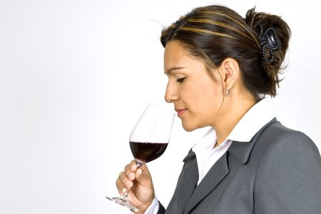 judging: Hispanic Woman Wine Taster Stock Photo