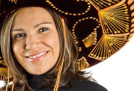 traje mexicano: Hispanic mujer que llevaba un sombrero  Foto de archivo