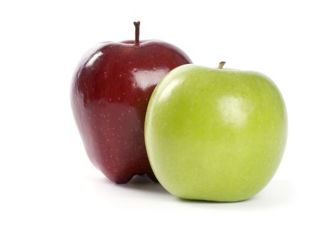 granny smith: A Granny Smith and Red Delicious Apple Isolated on White Stock Photo