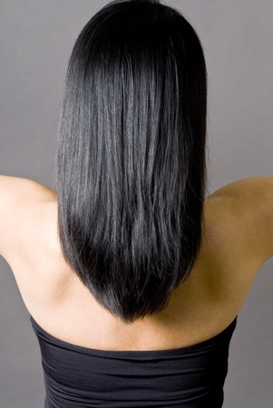 back straight: Rear View of a Woman with Long Straight Black Hair