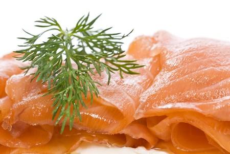 smoked salmon: Smoked Salmon and Dill on Cream Cheese Stock Photo