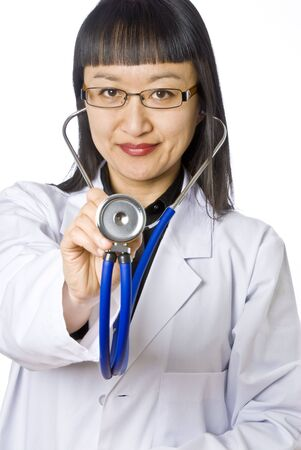 Young Asian Female Doctor with Stethoscope photo