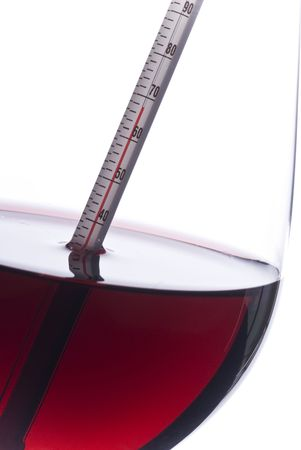 온도계 (화씨)로 레드 와인 온도 측정 스톡 콘텐츠 - 4595043