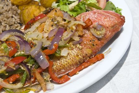 plantain: Fried Whole Red Snapper with Vegatables and Rice Stock Photo
