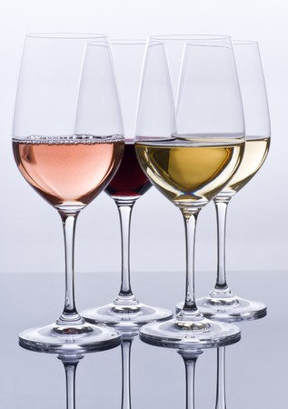 Filled Wine Glasses and Their Reflections Stok Fotoğraf
