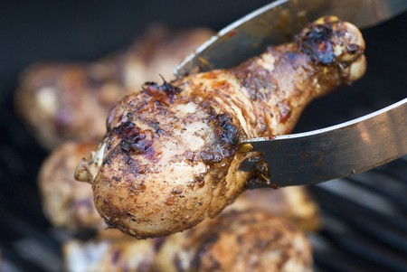 Closeup of a Barbecued Jerk Chicken Drumstick photo