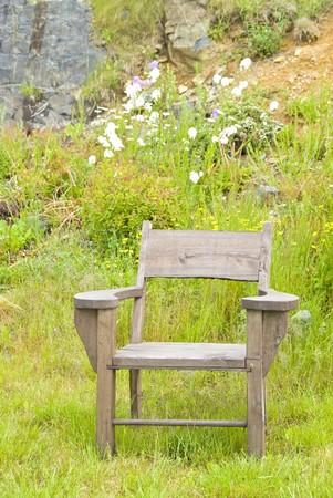 silla de madera: Presidente de madera en el jard�n