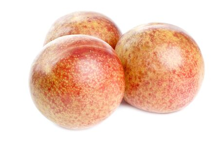 Pluots Fruits Isolated on White Stok Fotoğraf