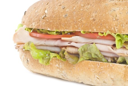 multi grain sandwich: Turkey Sandwich Isolated on White Stock Photo