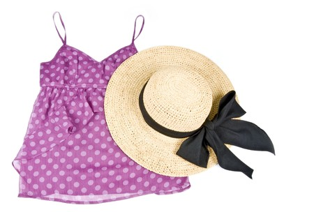 Pink Polka Dot Tank Top with Straw Hat photo