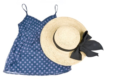 Blue Polka Dot Tank Top with Straw Hat Stock Photo