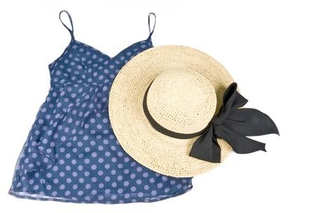 straw hat: Canotta di Polka Dot blu con cappello di paglia Archivio Fotografico