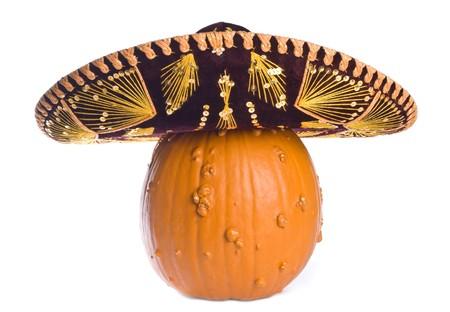 Oca Bump Pumpkin Wearing un sombrero mexicano  Foto de archivo