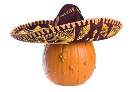 Goose Bump Pumpkin Wearing a Mexican Sombrero Stockfoto