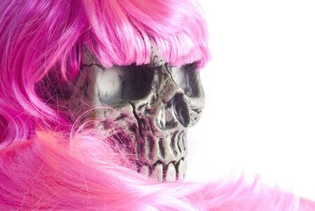 Halloween Skull with Pink Wig