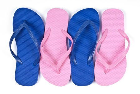 flops: Pink and Blue Flip Flops Isolated on White