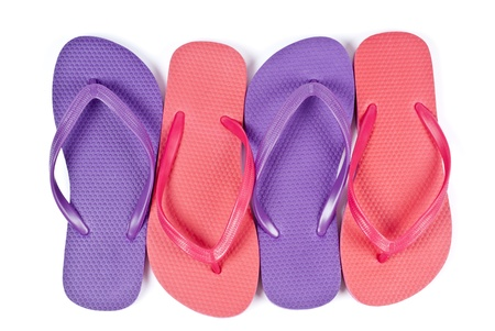 flops: Pink and Purple Flip Flops Isolated on White Stock Photo