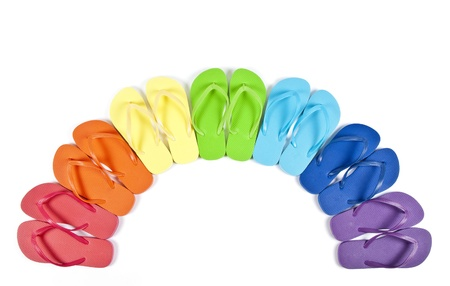 Flip Flops in Rainbow of Colors Isolated on White Stock Photo - 9600312