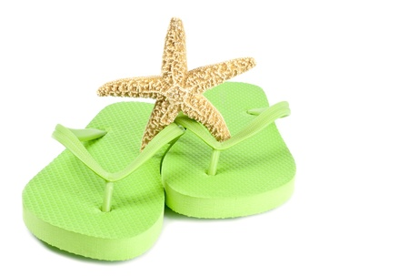 Lime Green Flip Flop and Starfish Isolated on White